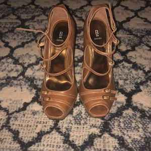 BAKER brown multi ankle strap point heels 👠